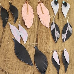 Handmade leather feather earrings